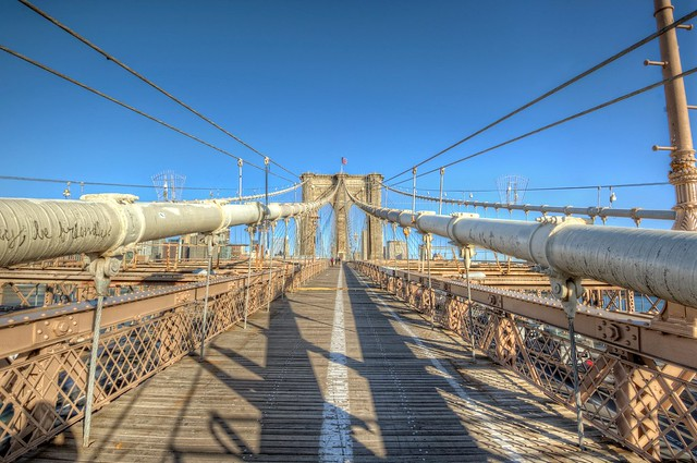 Symmetry on the Brooklyn Bridge in New York City HDR