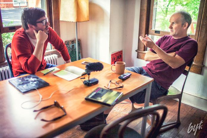 Jeff Jetton interviews Ian MacKaye, former Fugazi frontman, at the Dischord Records house in Arlington, Virginia on May 21, 2013.