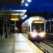 A Night Photo of a Sound Transit Light Rail Pulling Into Tukwila Station