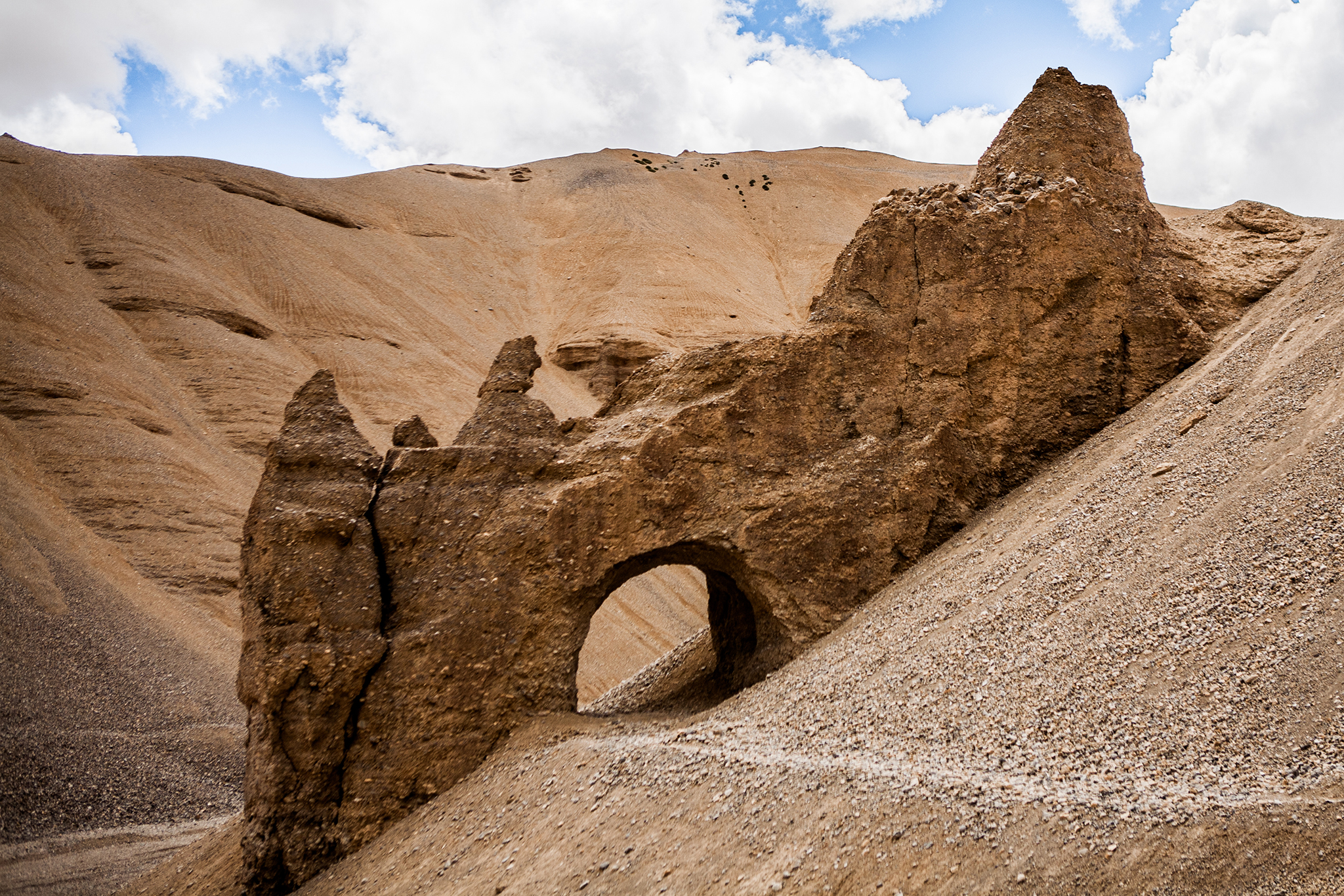 A natural tunnel near Lachung la, Leh, India