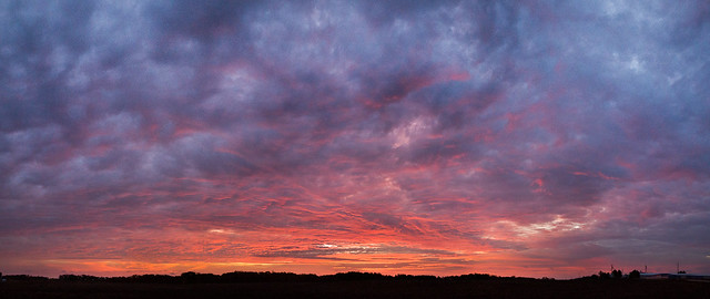 Sunrise, Landscape, Pano, Panorama, Panoramic, Red, Blue, Clouds