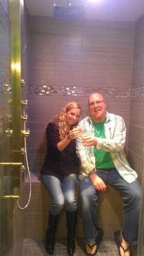Stacy and Garrett toasting in the new shower! by christopher575