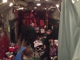 A Coast Guard HC-130 Hercules aircraft crew from Air Station Barbers Point traveled 2,386 miles to rendezvous with a fishing vessel for patient transfer. The Hercules aircrew consisted of a Kalawao Rescue in-flight care team including an emergency physician, 10 units of blood, medical supplies and medications.