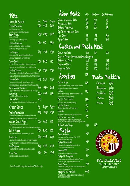 Big Flat Bread Menu