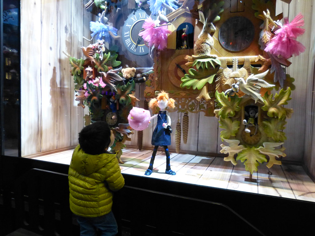 Looking at the shop windows at Galeries LaFayette