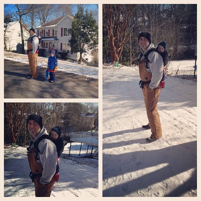 Travis #babywearing the #bobacarrier in the #atlantasnow today :) - he made it home after 3 shifts at work on the road helping people. Phew!!