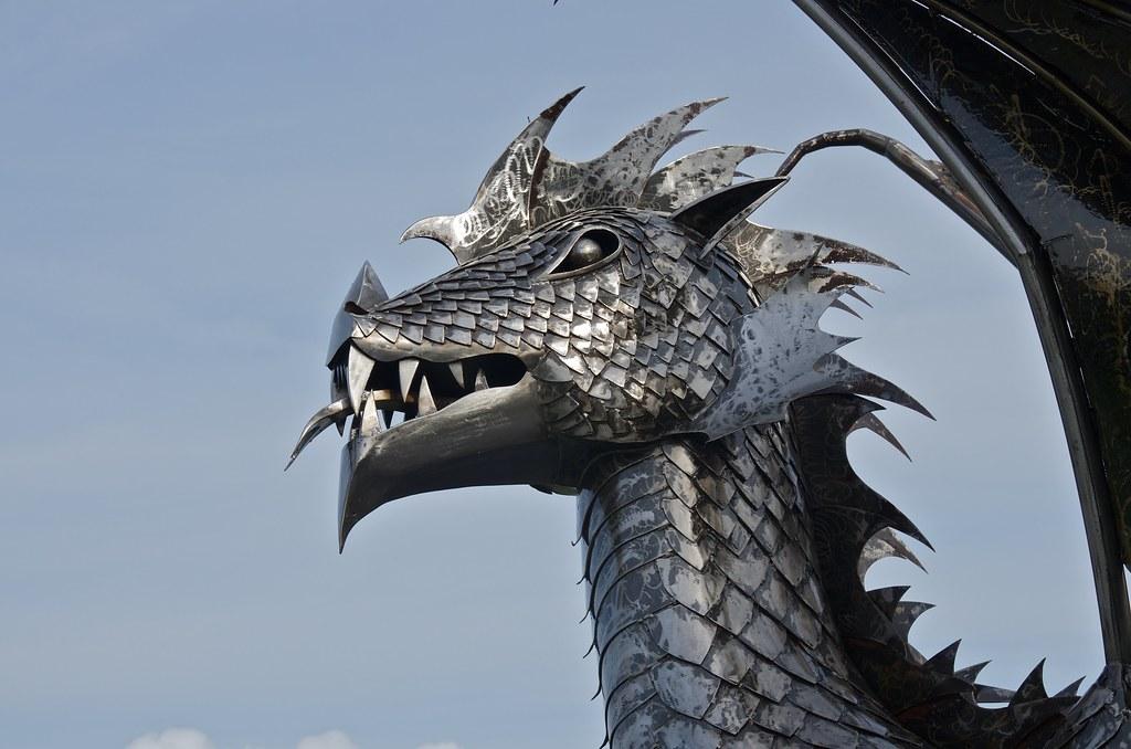 Dragon Sculpture seen in Harlech