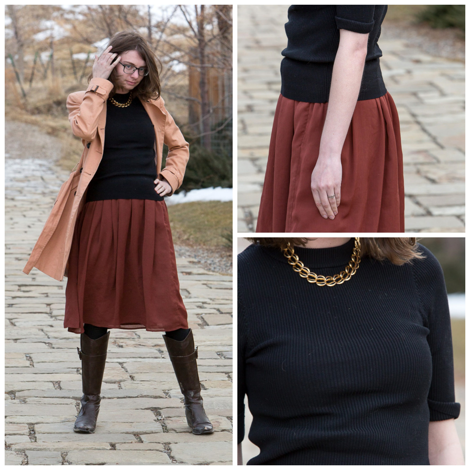 trench coat, brown, black, outfit, skirt, sweater, Never fully dressed, withoutastyle, wyoming,