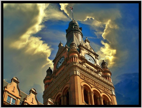 city sunset sky cloud building tower texture clock wisconsin architecture clouds town hall cityhall style historic juneau milwaukee register wi renaissance revival nrhp onasill