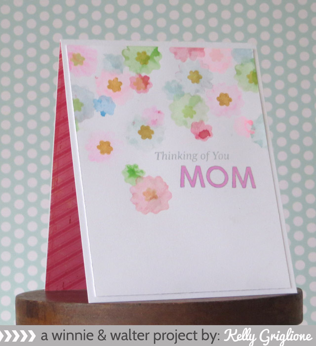 Kelly_Watercolor Flowers Thinking of Mom Card