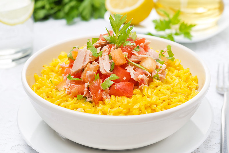 saffron rice with tuna salad