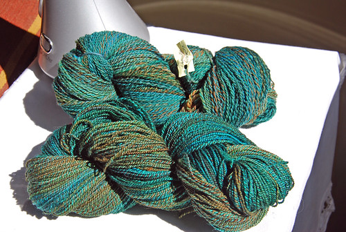 Handspun dyed Polwarth wool yarn