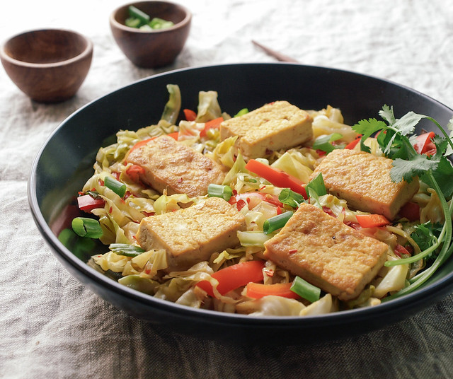... : Spicy Stir-Fried Cabbage, Tofu and Red Pepper + Soy Awareness