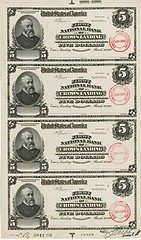 Certified-Proof of banknotes for the First National Bank of Crows Landing, CA