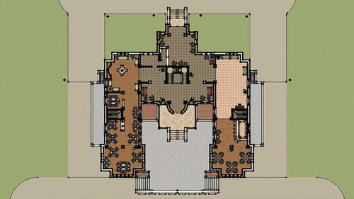 Denah Hotel Arsitektur Klasik Lantai 1