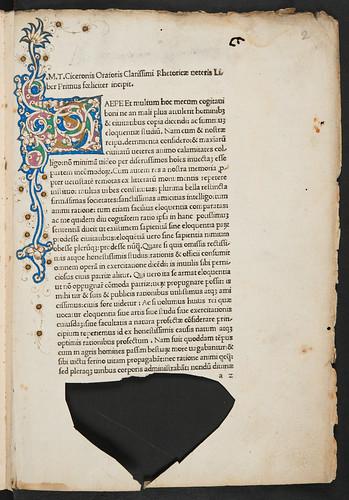 Illuminated initial in Cicero, Marcus Tullius: De inventione, sive Rhetorica vetus
