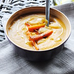 Roasted carrots and red lentil soup