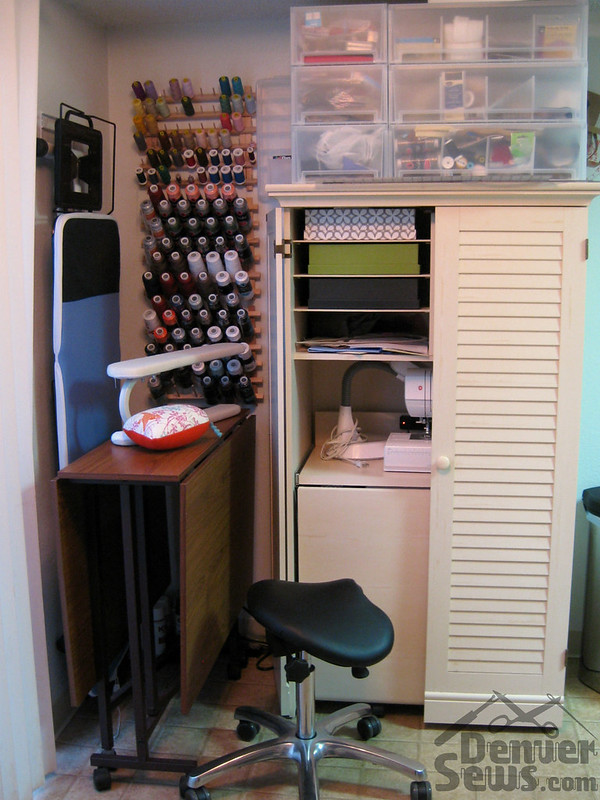 Tiny Sewing Corner - With Sewing Cabinet Folded Up