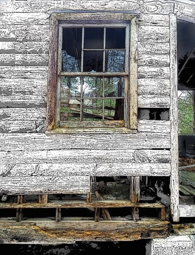art abandoned window cabin view decay ghost rustic logs shutter collapsed