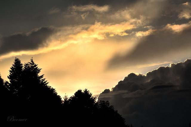 Coucher de soleil sur Grendelbruch, Alsace, France.