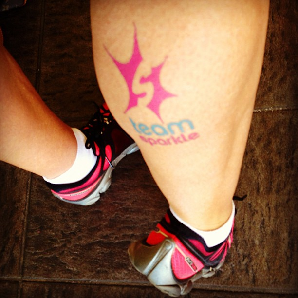 Fast treadmill run today brought on my @brooksrunning PureFlow 2's and my @runteamsparkle tattoo from last Sunday's Half Marathon. #teamsparkle #runhappy