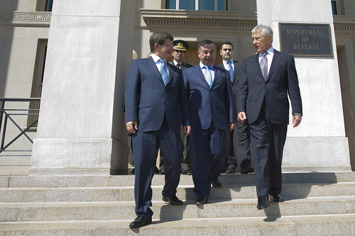 <p>   U.S. Secretary of Defense Chuck Hagel, right, walks with Turkish Minister of National Defense Ismet Yilmaz, center, and Turkish Foreign Minister Ahmet Davutoglu, left, after a meeting at the Pentagon in Arlington, Va., May 17, 2013. (DoD photo by Erin A. Kirk-Cuomo/Released)</p>