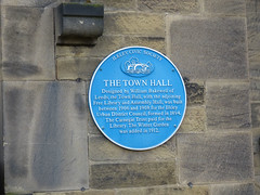 Photo of Town Hall, Ilkley, William Bakewell, and Andrew Carnegie blue plaque