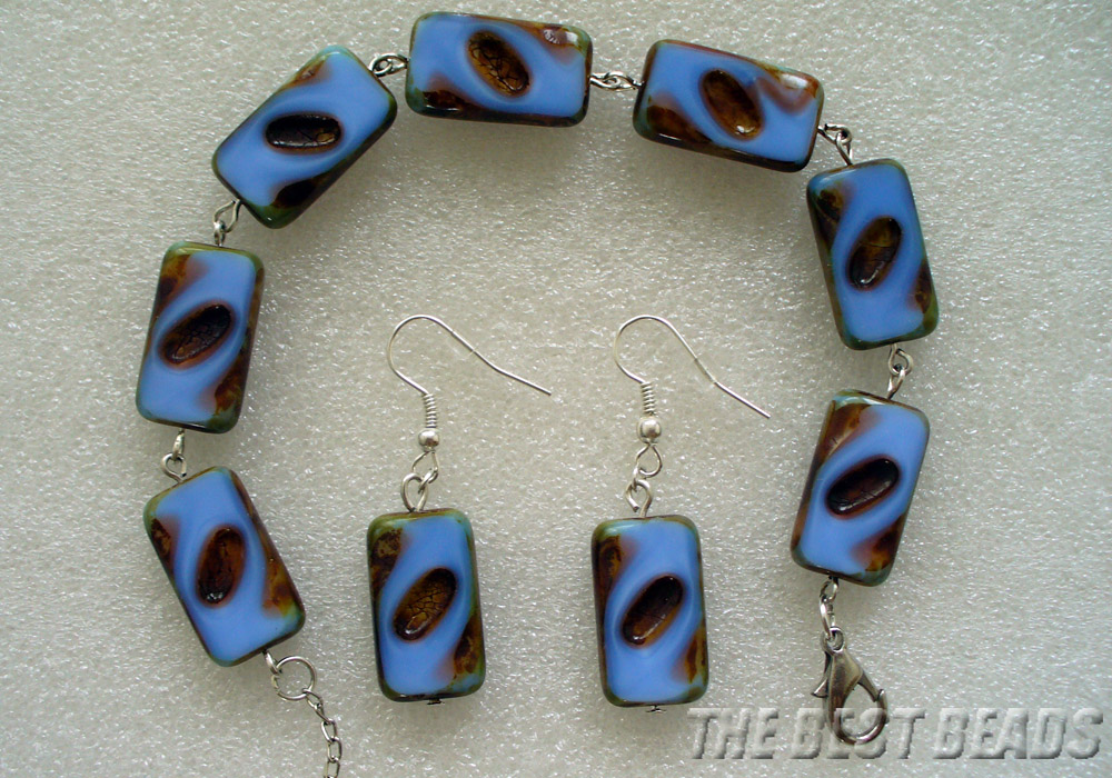 blue rectangles bracelet and earnings