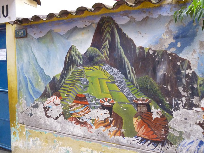 Machu Picchu mural in Aguas Calientes
