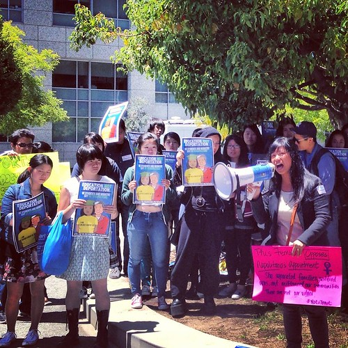 students protesting janet napolitano