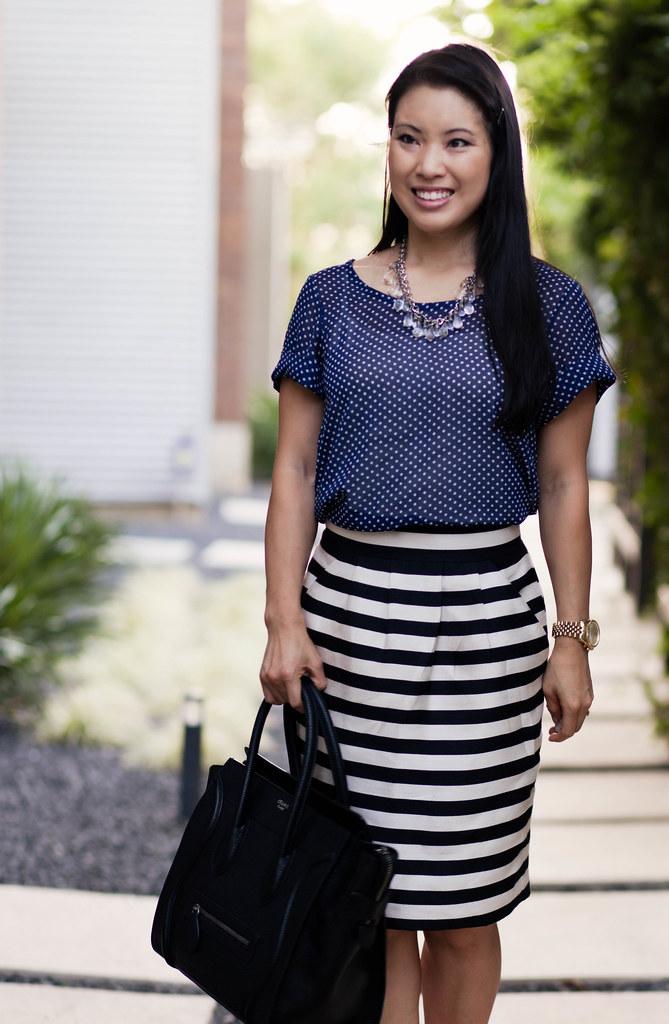 navy polka dots, striped pencil skirt, celine mini luggage tote, #patternmixing
