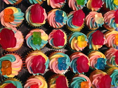 Mini Rainbow Cupcakes with Frogs and Bears