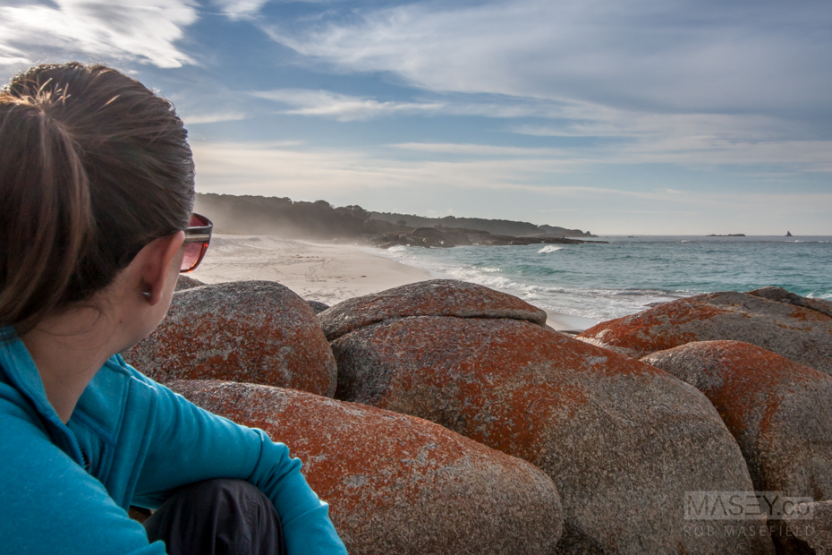 Relaxing at 'Cosy Corner South' in the 'Bay of Fires'.