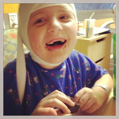 Brownies for dinner. #atleastitisnotpizza #pch #phoenixchildrens #seizures #specialneeds #sweetboy
