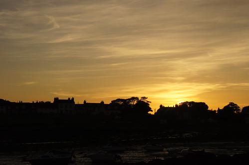 sunset silhouette scotland harbour dumfriesgalloway