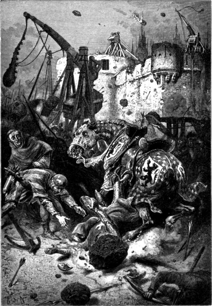12. El terrible poder de las catapultas. Obra de Alphonse Marie Adolphe de Neuville (1835_1885)