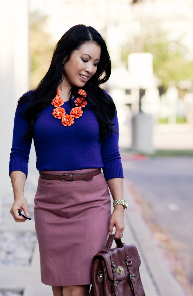 purple sweater, pink pencil skirt, sole society elisa tan bow pumps, ily couture bloom necklace, leather satchel, outfit #ootd fall