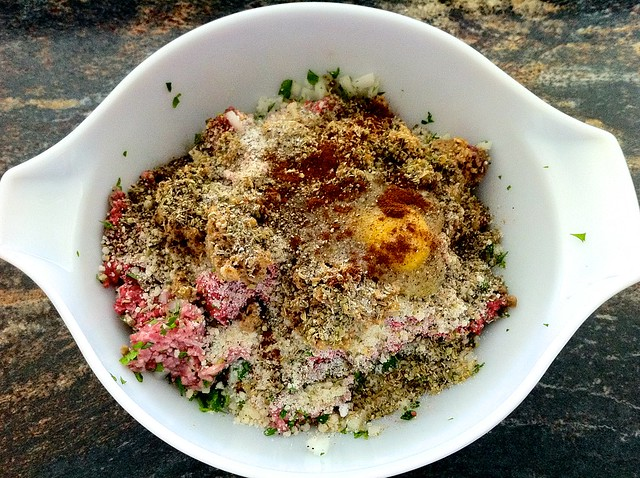 Meatball Ingredients Combined in Large Bowl