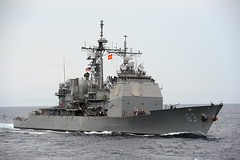 USS Cowpens (CG 63) operates in the South China Sea in October. (U.S. Navy/MC3 Declan Barnes)