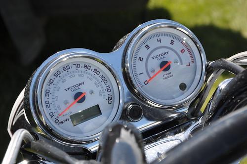 36.c.  Victory Custom Motorcycle #099. 120mph max speed, redline @ 5,500rpm