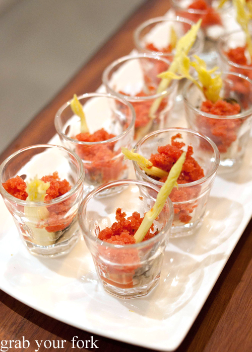 Smoky Bloody Mary oyster shots