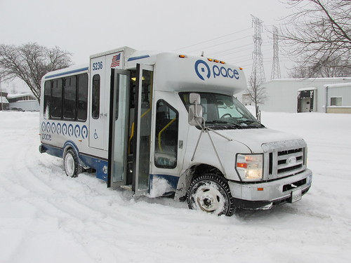 First Transit Ford paratransit mini bus # 5236 in a snowstorm.  Wheeling Illinois.  Thursday morning, January 2nd, 2014. by Eddie from Chicago