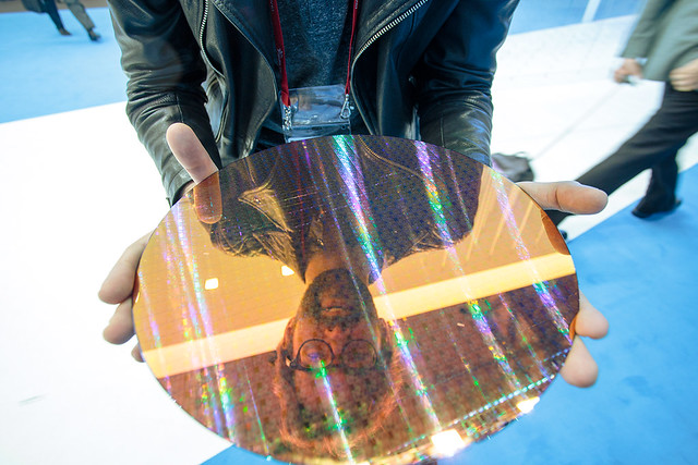 Seb holding a 22nm Intel wafer