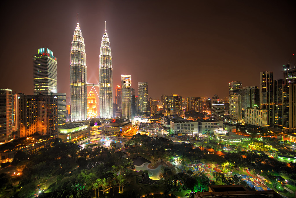 Petronas Twin Towers from Across KLCC Park