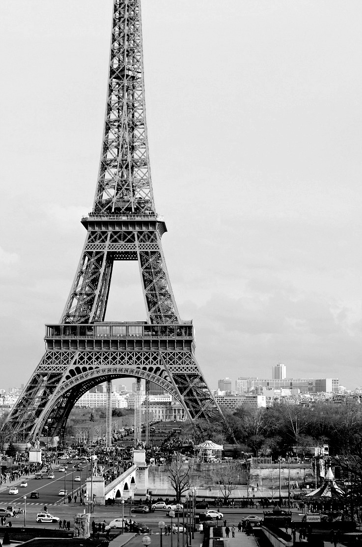 DSC_6291 Eiffel Tower, Paris resized black and white
