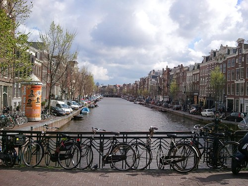 A view from a bridge over one of Amsterdam's canals