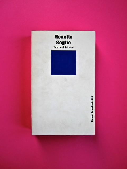 Soglie, di Gérard Genette. Einaudi 1989. Responsabilità grafica non indicata [Munari]. Copertina (part.), 1