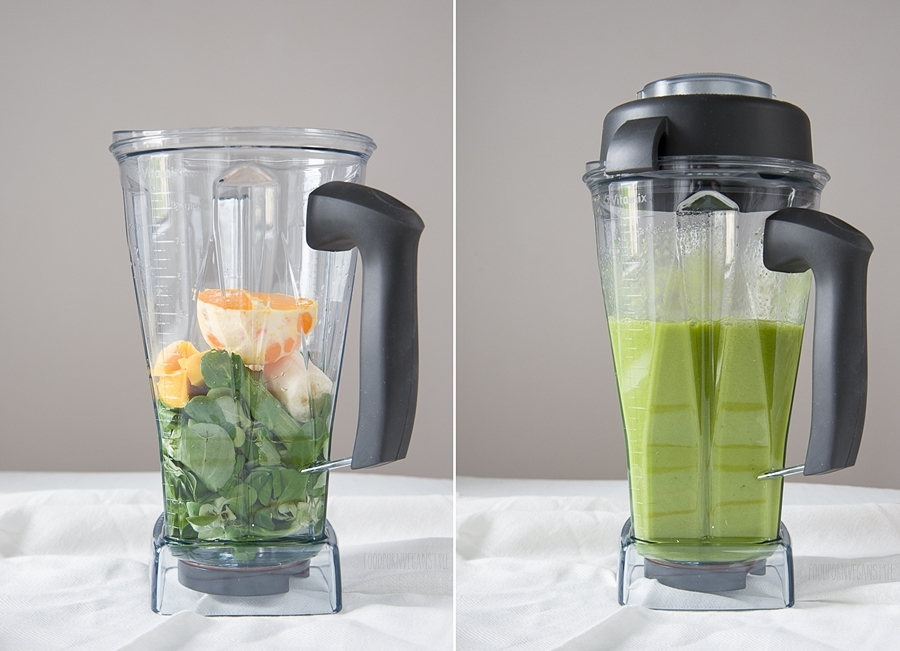 Green smoothie with lamb's lettuce and mango