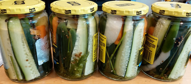 Finished jars of pickles