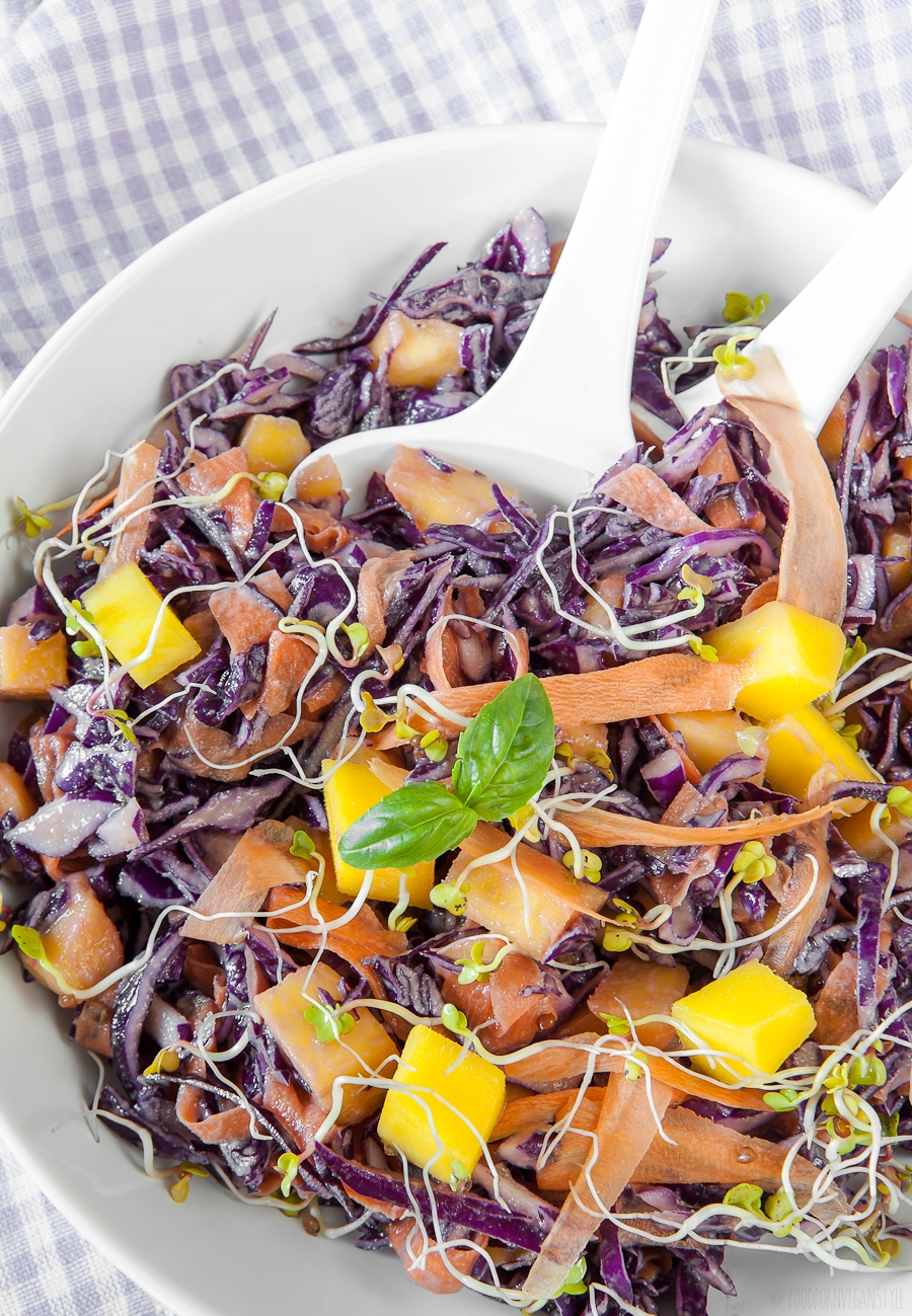 Raw red cabbage salad with mango and miso dressing